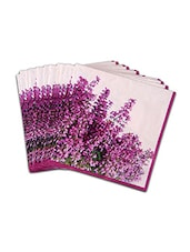 Set Of 20 White And Purple Printed Paper Napkins - By