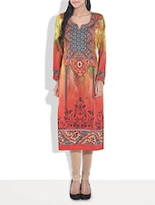 Rust And Yellow Printed Poly Cotton Kurta - By