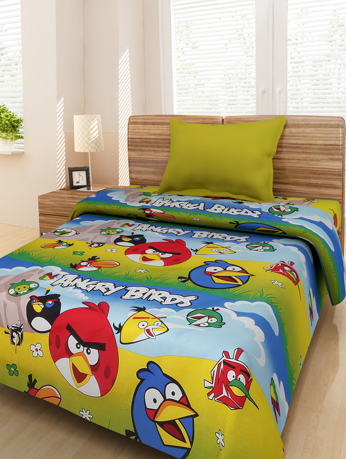 Buy Multicolored Angry Bird Single Bedsheet Set By Homefab India   Online  Shopping For Bedsheets In India | 9651257