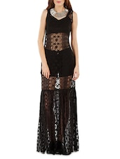 Solid Black Laced Maxi Dress - By