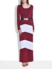 Wine Cotton Jersey Maxi Dress - By