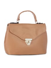 Solid Tan Faux Leather Handbag - By