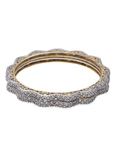 Gold Plated Embellished Bangles Set Of 2 - By