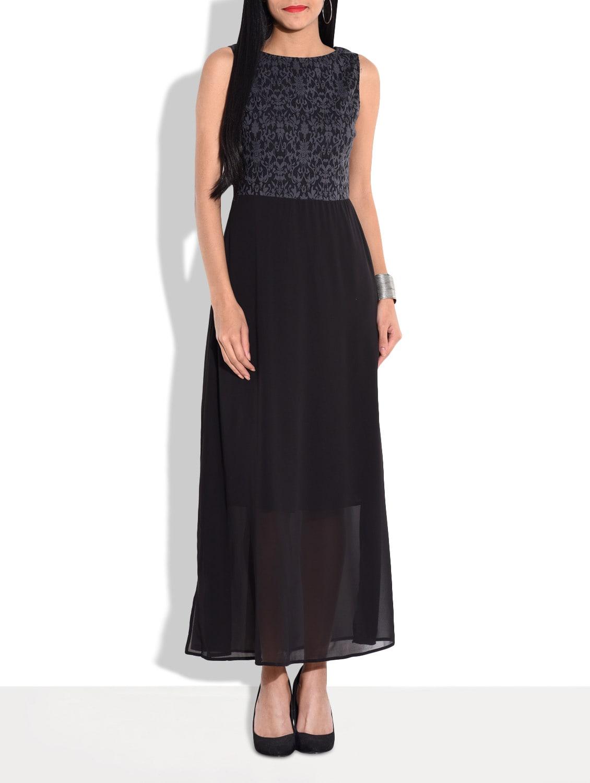 Black Sleeveless Jacquard Georgette Maxi Dress - By