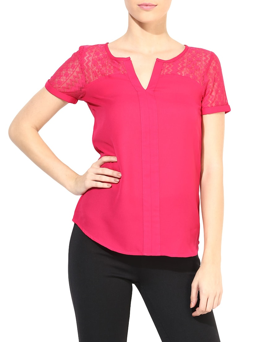 the vanca solid magenta lace detailed top