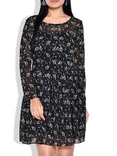 Black Floral Printed Full Sleeved Dress - By
