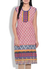 Pink Printed Sleeveless Cotton Kurta - By