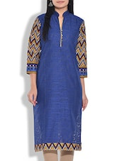 Dark Blue Chevron Printed Cotton Kurta - By