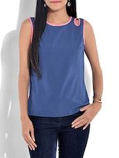 Blue N Pink Top With Overlapping Back - By