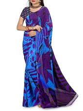 Purple N Blue Faux Georgette Printed Saree - By