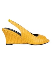 Yellow Textured Faux Leather Peep Toe Wedges - By