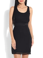 Solid Black Polygeorgette Dress - By