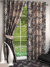 Set Of 2 Brown Geometric Printed Eyelet Curtains - By