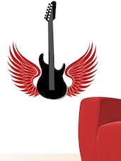 Guitar With The Wings In Black Wall Decal - Chipakk