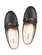 Black Embellished Slip-on Loafers - By
