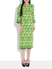 Green N Cream Printed Kurta With Mandarin Collar - By