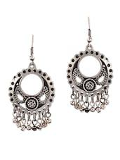 Silver Drop Earrings With Cutwork - By