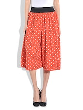 Orange Polka-dotted Poly Crepe Culottes - By