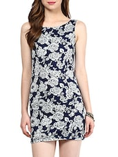 Navy Blue Floral Printed Stretchable Dress - By