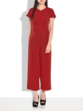 Red Short Sleeved Back Zippered Jumpsuit - By