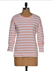 Pink And White Color Stripped Round Neck T-shirt - Hypernation