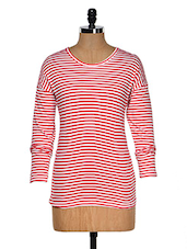 Red And White Color Stripped Round Neck T-shirt - Hypernation