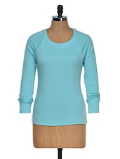 Aqua Blue Color Round Neck Long Sleeves T-shirt - Hypernation