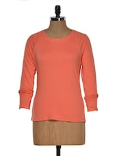 Coral Color Full Sleeves Casual T-shirt - Hypernation