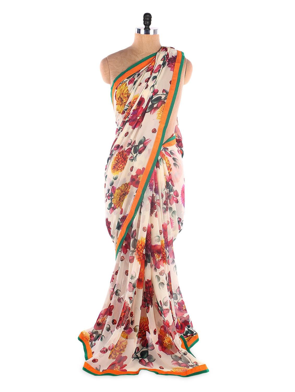 White Georgette Printed Saree With Lace Border - Suchi Fashion