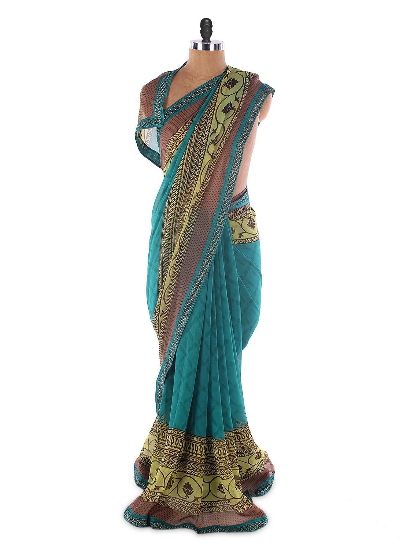 Blue Georgette Printed Saree With Lace Border - Suchi Fashion