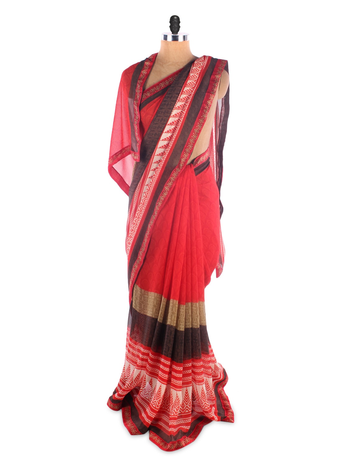 Red Georgette Printed Saree With Lace Border - Suchi Fashion