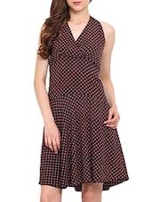Black Polka Dots Sleeveless Dress - By