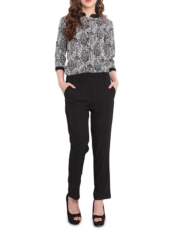 9c05fffa4f42 Buy Black Printed Three Quarter Sleeved Jumpsuit for Women from Trend Arrest  for ₹600 at 60% off
