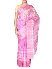 PINK Cotton Tant Saree - By