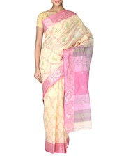 Beige Cotton Tant Saree - By