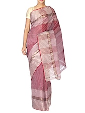 Maroon Cotton Tant Saree - By