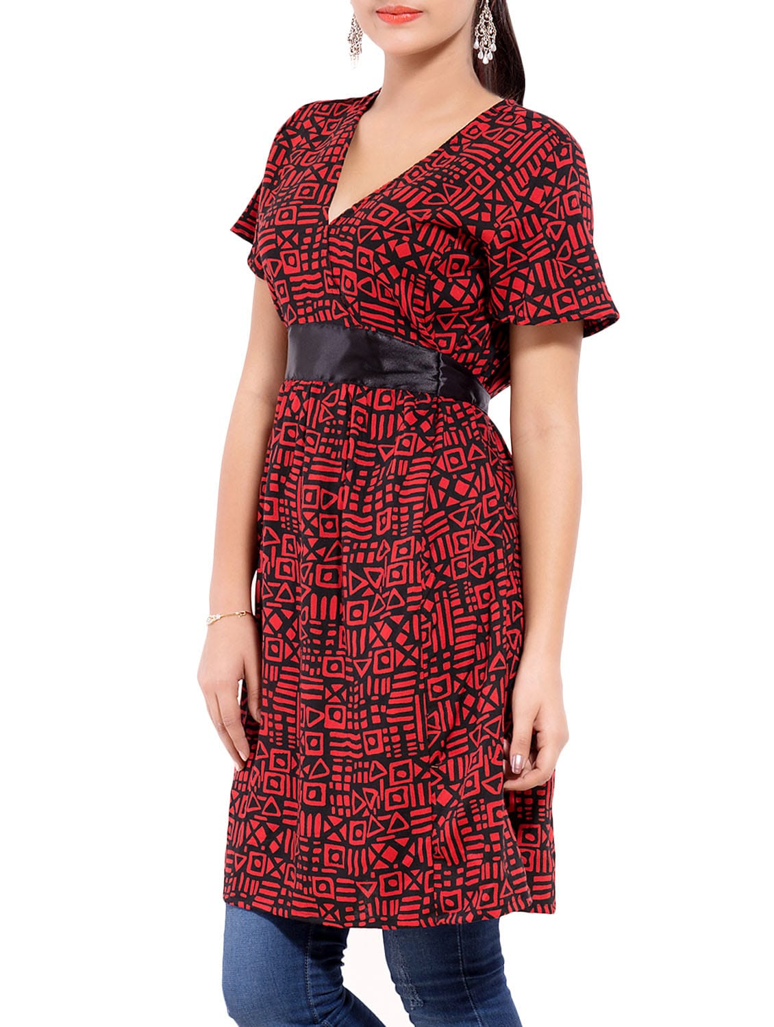 e95b4cc3683 Buy Red Rayon Printed A-line Tunic for Women from Goodwill for ₹519 at 48%  off | 2019 Limeroad.com