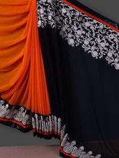 Orange And Black Embroidered Chiffon Saree - Manvaa