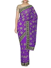 Purple Embroidered And Embellished Faux Georgette Saree - By