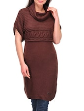 Brown Cowl Neck Long Pullover - By