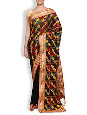 Black Embroidered Cotton Silk Saree - By