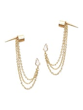 Gold Crystal Embellished Cuffs Earrings - By