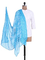 Sky Blue N White Striped Cotton Dupatta - By