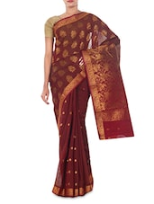 Red Color Cotton Woven  Saree -  online shopping for Sarees