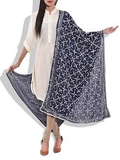 Navy Blue Phulkari Embroidered Georgette Dupatta - By