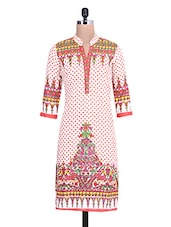White Printed Quarter Sleeved Cotton Kurta - By
