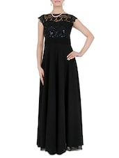 Black Lace Bodice And Boat Neck Sequined Gown - By