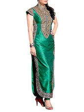 Green Embroidered Bangalore Silk Semi Stitched Dress Material - By