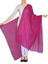 Magenta Crush Cotton Dupatta With Beaded Ends - By