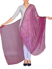 Purple Floral Printed Dupatta With Beaded Ends - By
